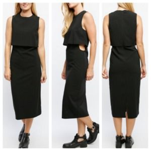Lumiere Black Side Cut Out Midi Dress Size Small